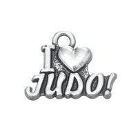 petits pendentifs de coeur en métal achat en gros de-20pcs lettre de métal en alliage couleur argent antique j'aime le judo charmes petites conclusions pendentif coeur pour collier bracelets