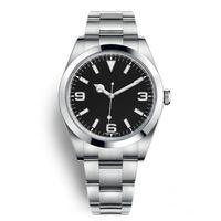 ingrosso rileva il movimento orologio-Top New Watch Explorer quadrante nero acciaio inossidabile automatico 2813 movimento orologio casual data Reloj De Lujo montre Relojes De Marca orologio da polso