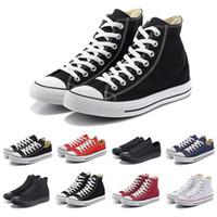 marka tuval dantel ayakkabıları toptan satış-İNDİRİM Tüm Siyah Düşük Kaliteli Marka kesim Dantel kanvas rahat ayakkabılar beyaz mavi turuncu yüksekten düşüğe erkek kadın eğitmenler 36-44 spor ayakkabısı