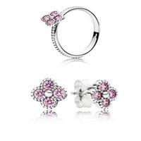 modelo studs venda por atacado-NEW100% 925 sterling silver pink flor em forma de zircão oco elegante anel modelos femininos anel elegante nobre Ear Studs