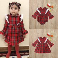 8ac83c58414 good quality Baby Girls rompers Long Sleeve Plaid Lace Jumpsuit Romper  Outfits Clothes roupa de menina vetement enfant fille