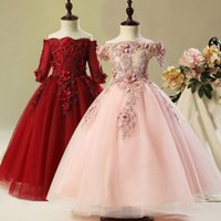 Wholesale new custom black beauty resale online - lace Flower Girl Bead Decoration Long Dress New Girl Ball Gown pageant Wedding Party Exchange Dress Ball Beauty Sexy Shoulder Dress