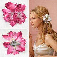 Wholesale beautiful brooches for sale - Group buy Hot Wome girls Phalaenopsis brooch simulation orchid hair accessories dual purpose Beautiful Flower Hair Clip fashion
