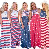 boho maxi yeleği toptan satış-Ulusal Bayrak Baskılı Elbise 5 Renkler Kadınlar Kolsuz Patchwork Yuvarlak Boyun Yelek Maxi Boho Elbise Plaj Uzun Elbiseler OOA6777