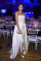 Wholesale lavender beaded ruffle top for sale - Group buy New York Gala celebrity Red Carpet Jumpsuit with Train Lacy White Top Tucked Into Silky White Trousers Iman Prom Dress