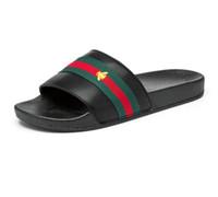 plaj terlik markaları toptan satış-Marka tasarımcısı terlik, yeşil kırmızı yeşil şerit terlik tasarımcı sandalet, tasarımcı slaytlar, tasarımcı ayakkabı, erkek plaj terliği G7.20