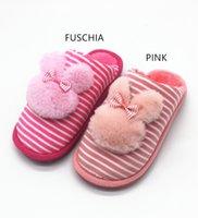 ingrosso pantofole di dimensioni del bambino-RAGAZZE INVERNALI WF19 BABY FAUX PELLICCIA SLIPPER ANIMALI SVEGLIA BOW STRIPED HEAT SLIPPERS SLIPPERS CON PELLICCIA PER BAMBINA 6-10YRS TAGLIA 23 24 25