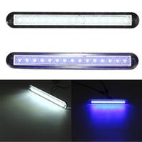 светодиодный экстерьер автомобиля оптовых-Universal Car Auto Boat Caravan 12V DC 15 LED Interior Exterior Rail Strip Light White /Blue 3200k