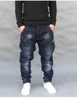 mens hip hop baggy jeans toptan satış-Moda Hip Hop Harem Kot Erkek Jogging Yapan Pantolon Kot Uzun Streç Gevşek Baggy Denim Mavi Pantolon Tasarımcı Erkek Giysileri