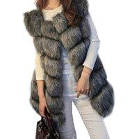 меховые жилеты для женщин оптовых-High quality Fur Vest coat Luxury Faux  Warm Women Coat Vests Winter Fashion furs Women's Coats Jacket Gilet Veste 4XL