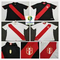 camisas de futebol branco em branco venda por atacado-2019 Copa América Peru Camisas De Futebol 9 GUERRERO 8 CUEVA 19 YOTUN Em Branco Personalizado 2020 Casa Fora Branco Preto Adulto Camisola De Futebol camisa