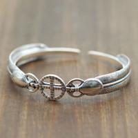 925 silbernes indisches armband großhandel-Takahashi Reines Silber 925 Feder Paar Öffnen Armband Retro-Indian Wind Kreuz Thai Silber Armband für Männer und Frauen