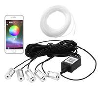 rgb led teléfono controlado al por mayor-5 en 1 6.2 M Sonido EL Neon Strip Light RGB LED Luz Interior de Coche Multicolor Bluetooth Teléfono Control Atmósfera Luz 12V