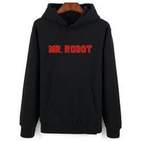 robô cinzento venda por atacado-Hot Mr Robot Cinza Preto Moletom Com Capuz Homens Hip Hop No Inverno Outono Quente Estilo Hoodies Dos Homens E Camisolas de Grandes Dimensões