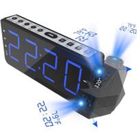 elektronik masa saatleri toptan satış-Zaman ile FM Radyo Çalar Saat Projeksiyon Sıcaklık Elektronik Masa Izle Başucu Danışma Projektör İzle Yaratıcı Dijital Saat