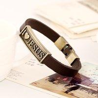 liebe id armband großhandel-Ich liebe Jesus Armband Antike Liebe Jesus Tag Leder Armband Armband Ringe Frau Mann Modeschmuck Will und Sandy Drop SHip