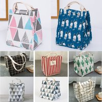 Wholesale character lunch bag for sale - Group buy Reusable Lunch Bag Insulated Lunch Box Canvas Fabric Aluminum Foil Striped Grid cactus Lunch Tote Handbag For Adult School Office WX9