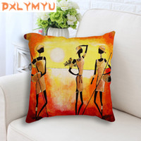 африканская масляная краска оптовых-African style character abstract oil painting Prints Back Cushion Sofa Throw Pillow Decorative Linen Cushion for bed home decor