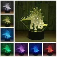 Wholesale dinosaurs room decor resale online - Funny Stegosaurus D Visual LED Jurassic Dinosaur Night Lamp LED RGB Mood Colorful Kids Room Decor Child Toys Xmas Birthday Holiday Gifts