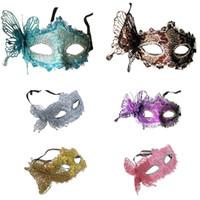 media máscara mariposa al por mayor-Máscara de disfraces de mujer de Halloween Disfraz de princesa veneciana Máscara de media cara Máscaras de mariposa de carnaval Máscaras de ojos venecianas