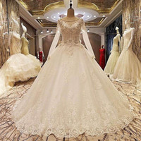 Wholesale red actual dress resale online - Actual Image Long Sleeves Lace Wedding Dresses Appliques Beaded Tulle Puffy Princess Bridal Dresses Wedding Gowns