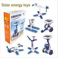 batteriebetriebener roboter großhandel-6 in 1 Solar Spielzeug DIY Power Solar Auto Roboter Flugzeug Kit Solar Batteriebetriebene Verwandeln Pädagogisches Lernen Neuheit Spielzeug Kinder spielzeug