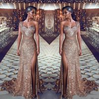 Wholesale sexy party dresses china for sale - Group buy Sexy High Slit Prom Dresses Sparkly Sequins Saudi Arabia Prom Gowns One Shoulder Sweep Train Formal Party Dresses With Beaded China