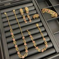 Wholesale vintage engagement set for sale - Group buy Vintage Crystal Necklace Sets Flowers GG Letters Jewelry Sets Designer Diamond Bracelet Women Luxury Rings Necklace Charm Earring Studs Set