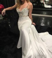 Wholesale strapped silk wedding dress resale online - 2020 Sexy Ivory Mermaid Wedding Dresses Luxury Beaded Crystal Backless Spaghetti Straps Satin Ruched Beach Wedding Bride Party Gown