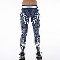 envío impreso pantalones de yoga al por mayor-Envío gratis Hot S-4XL Multi-Color Mujeres Legging Dallas pantalones Cowboys impreso cintura alta cinturón ancho corriendo medias de fitness pantalones de yoga