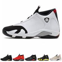 yeni üniversite toptan satış-Yeni 14 14 s Şeker Kamışı Siyah Ayak Fusion Varsity Kırmızı Süet Erkek Ayakkabı Son Shot Thunder Siyah Sarı DMP Sneakers