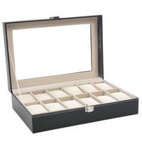 Wholesale locked display cases for sale - Group buy Slots Leather Storage Box Windowed Case Locked Watch Box Gift Case Watch Display Case Jewelry Storage