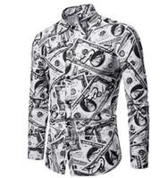 camisas de vestir oxford para hombre al por mayor-Camisas de vestir de verano para hombre Casual Hombre refrescante camisa de manga larga impresa en dólares de EE. UU.