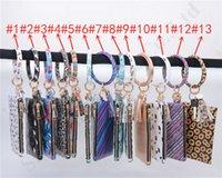 mini girasoles al por mayor-Borla de girasol Mujeres pulseras de cuero llavero Billetero monederos Mini floral leopardo bolso de señora pendiente del bolso de embrague monedero A110502