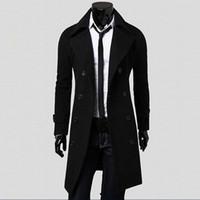 mens long parka ceketleri toptan satış-Ceket Erkekler Kış Uzun Ceket İnce Şık Siper Kruvaze Uzun Ceket Parka Erkek Palto