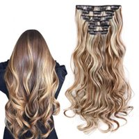 Wholesale curly clip hair extensions set resale online - Sara Lady Women Clip in Curly Hair Extensions Set Curly Hair Pieces CM Inch Hairpieces