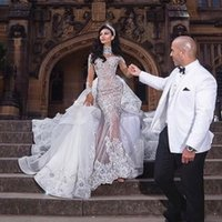 Wholesale dubai sexy wedding dresses for sale - Group buy 2020 Luxurious Rhinestone Crystal Wedding Dresses High Neck Beads Applique Long Sleeves Mermaid Bridal Dress Dubai Wedding Gown Overskirt