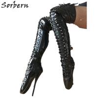botas altas de la entrepierna del muslo al por mayor-Sorbern Custom Tamaño de la pierna Sexy Fetish Boots Tacones altos Corset Dominatrix Rodilla / muslo / Crotch Boot Ladies Stilettos Negro Marca de diseñador de patentes