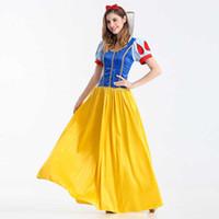ingrosso abiti di fantasia giallo-Le vendite calde regina adulto donne vestono Costume Cosplay Flowery Fancy Party Gown Abiti Vestido Giallo Sexy Abbigliamento donna