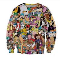 adam kadın giysileri karikatür toptan satış-Yeni Moda Bayan / Erkek 90 s karikatür Komik 3D Baskı Crewneck Kazak Jumper Kadınlar / Erkekler Moda Giyim AABB016