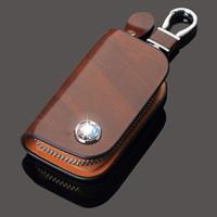 porta-chaves de carro para toyota venda por atacado-Titulares caso da chave do carro saco de couro genuíno para buick Mazda VW TOYOTA BMW AUDI Citroen Benz Hyundai Honda Lexus Chevrolet chave Keychain