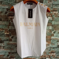 Wholesale cotton tops bead for sale - Group buy Balmain Womens Designer T Shirts Balmain Womens Designer Clothing Top Short Sleeve Women Clothes Size S L