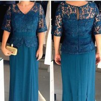 Wholesale half sleeves floor length mother bride for sale - Group buy 2019 Plus Size Mother of the Bride Dresses V Neck Half Sleeves Lace Top Sheath Evening Gowns Cheap Prom Dresses
