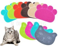 ingrosso pastiglie di gatto-10 stili Cane Gatto Feeding Mat zampa del cane del gatto forma del viso dell'animale domestico del piatto Mat Lettiera Bowl Pad Cat Wipe Easy Cleaning