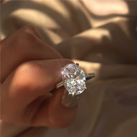 mode edelstein ringe großhandel-2019 neue frauen hochzeit ringe mode silber edelstein verlobungsringe schmuck simuliert diamant ring für hochzeit
