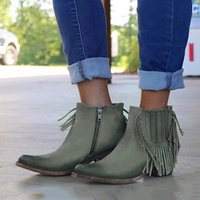 Wholesale blue female boots for sale - Group buy Retro Women Ankle Boots Tassel Side Checked Side Zipper Chunky Heel All Season Ladies Shoes Round Toe Low Heel Female Boots
