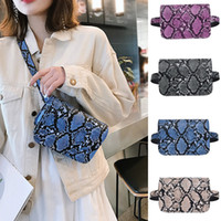 Wholesale waist bag patterns resale online - Women Hasp Serpentine Pattern Messenger Handbag Designer Chest Bag Snake Print Crossbody Phone Purse Mini Bag Waist