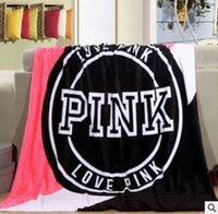 Wholesale acrylic beds for sale - Group buy Love Pink Fleece Blanket Victorie Black V Brand Throw Blankets Soft Warm Blanket on Sofa Bed Travel