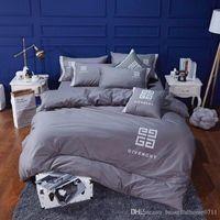 tekstil malzemeleri toptan satış-Lüks tasarımcı klasik işlemeli pamuk yatak ev tekstili 4 parça 1 takım aile hediye Yatak Malzemeleri yeni gelmesi hediye