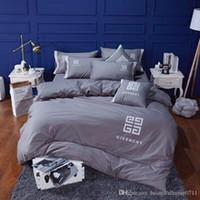 ingrosso set da letto d'argento viola-Luxury designer classico biancheria da letto in cotone ricamato tessili per la casa 4 pezzi 1 set regalo di famiglia Forniture biancheria da letto nuovo arriva regalo